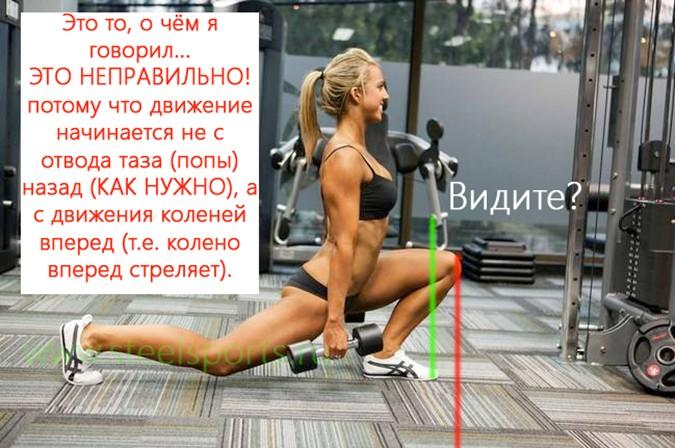 Неправильны выпады - колено выходит за носок